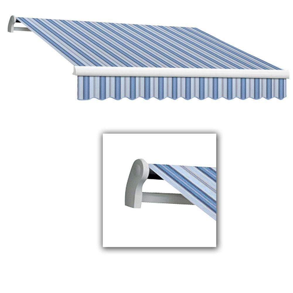 AWNTECH 8 ft. Maui-LX Left Motor Retractable Acrylic Awning with Remote (84 in. Projection) in Blue Multi