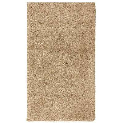 Plush Solid Shaggy Beige 5 ft. x 7 ft. Shag Area Rug