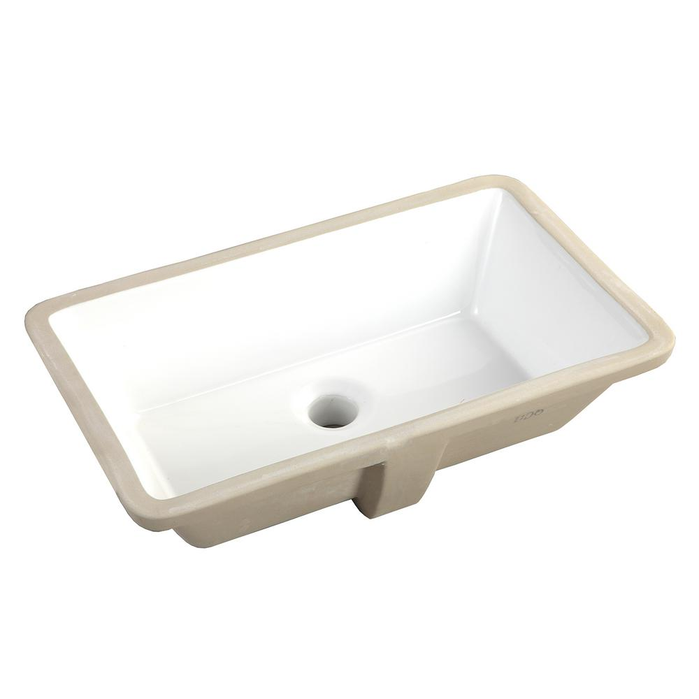 20-7/8 in. x 15-1/2 in. Rectrangle Undermount Vitreous Glazed Ceramic Lavatory