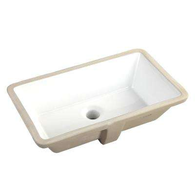 20-7/8 in. x 15-1/2 in. Rectrangle Undermount Vitreous Glazed Ceramic Lavatory Vanity Bathroom Sink in Pure White