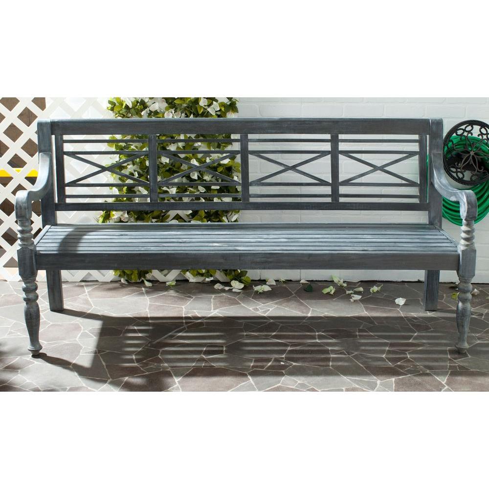 Safavieh Karoo Ash Gray Patio Bench Pat6704a The Home Depot
