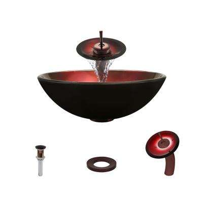 Glass Vessel Sink in Red Foil Undertone with Waterfall Faucet and Pop-Up Drain in Oil Rubbed Bronze