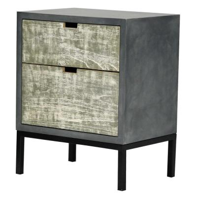 Shelly Assembled 22 in. x 22 in. x 14 in. Distressed Gray Iron Accent Storage Cabinet with 2 Wood Drawers
