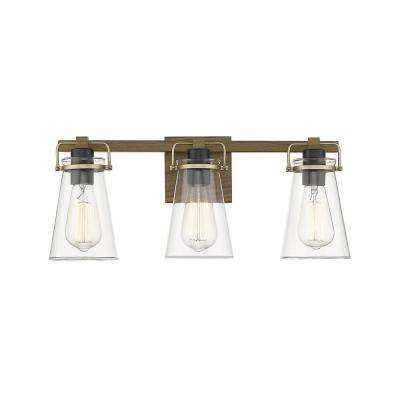 Audley III 4 3-4 in. 3-Light Painted Wood Vanity Light with Glass Shade