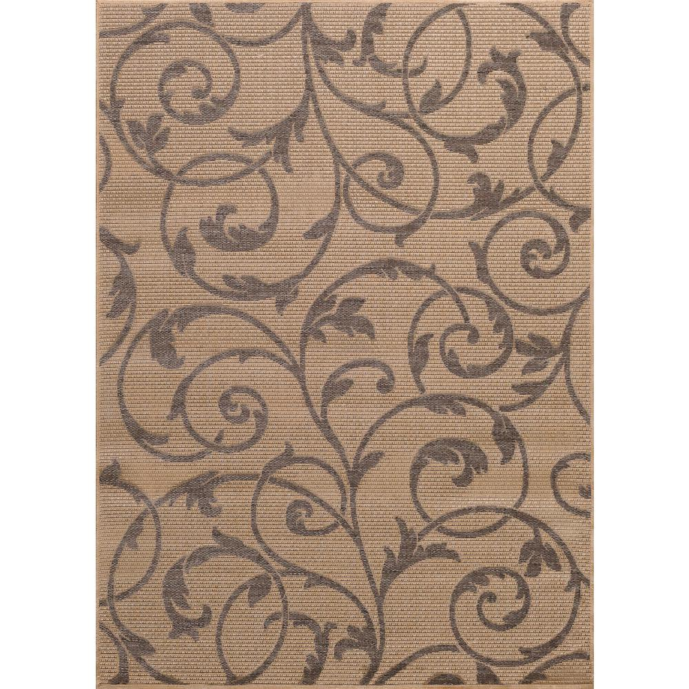 Scroll Beige/Gray 5 ft. x 7 ft. Indoor/Outdoor Area Rug