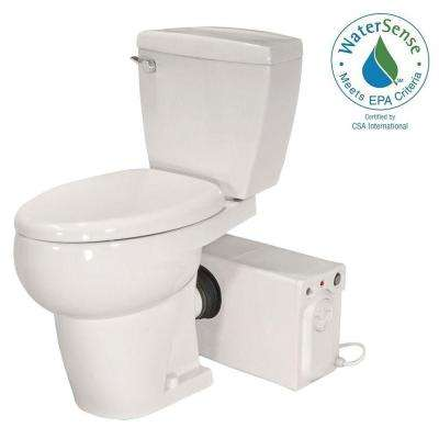 Bathroom Anywhere 2-piece 1.28 GPF Single Flush Elongated Toilet with Seat Macerating Pump in Bisque