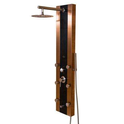 Rio 6-Jet Shower System with Black Glass in Bronze Stainless Steel
