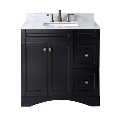 Elise 36 in. W Bath Vanity in Espresso with Marble Vanity Top in White with Square Basin