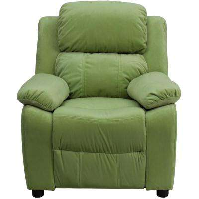 Deluxe Padded Contemporary Avocado Microfiber Kids Recliner with Storage Arms
