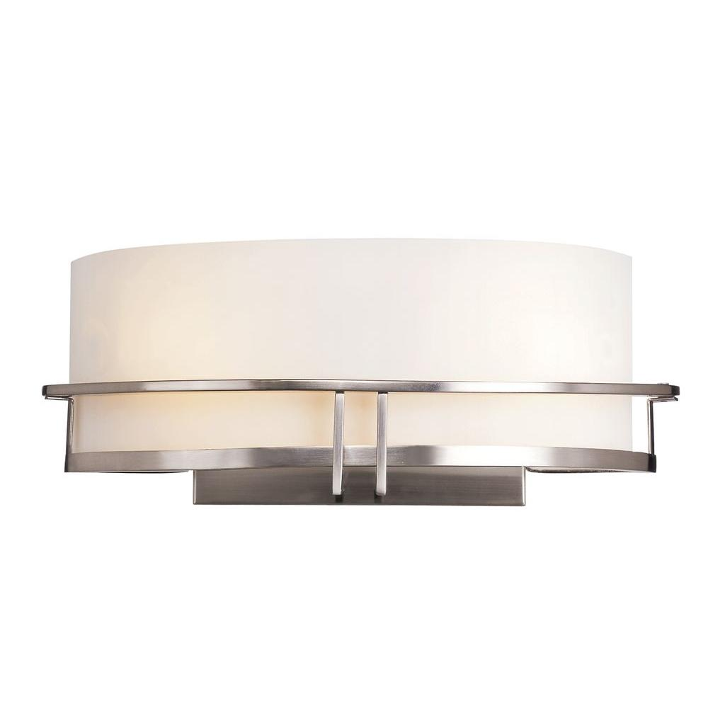 Bel Air Lighting Cabernet Collection 2-Light Pewter Sconce with White Opal Shade