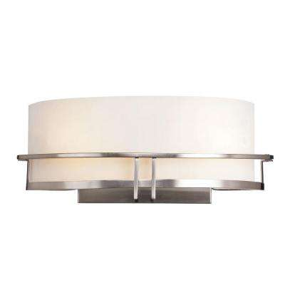 Cabernet Collection 2-Light Pewter Sconce with White Opal Shade