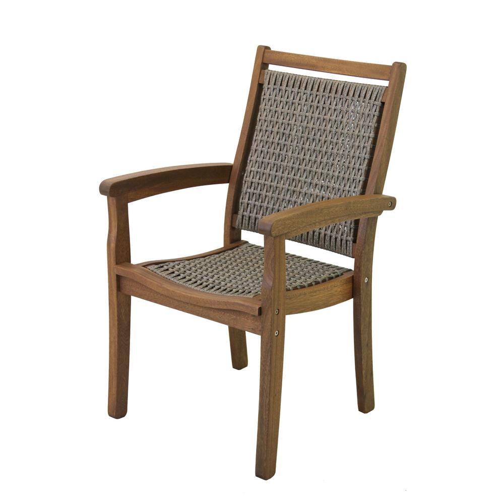 Stackable Wicker And Eucalyptus Outdoor Dining Chair