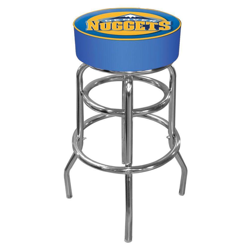 Denver Nuggets NBA 31 in. Chrome Padded Swivel Bar Stool