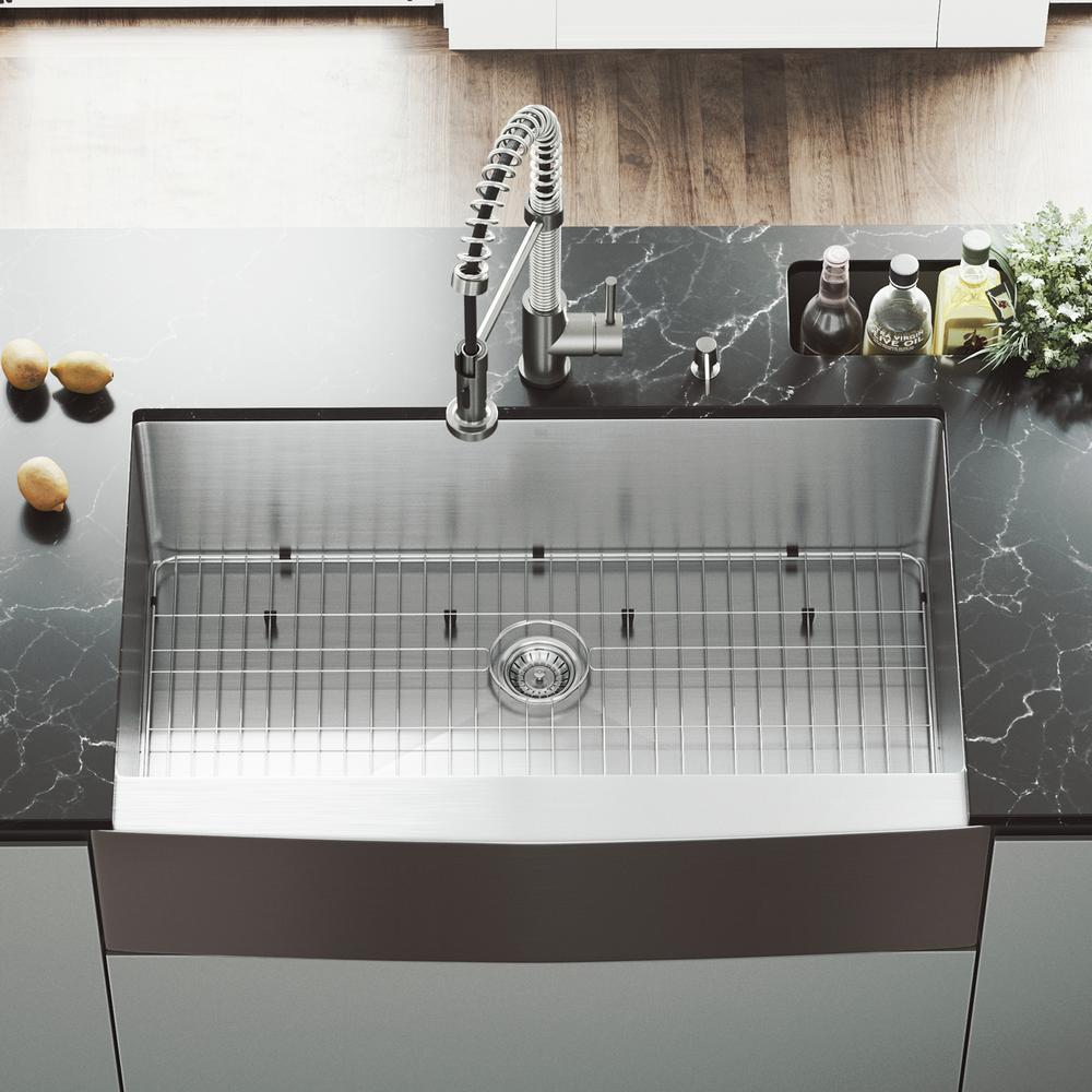 Vigo All In One 36 In Stainless Steel Single Bowl Undermount Kitchen Sink With Pull Down Faucet In Stainless Steel