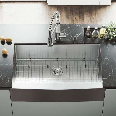 All-in-One Farmhouse Apron Front Stainless Steel 36 in. Single Bowl Kitchen Sink with VG02001 Faucet in Stainless Steel