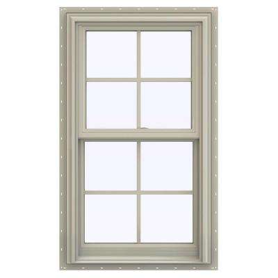 23.5 in. x 35.5 in. V-2500 Series Desert Sand Vinyl Double Hung Window with Colonial Grids/Grilles