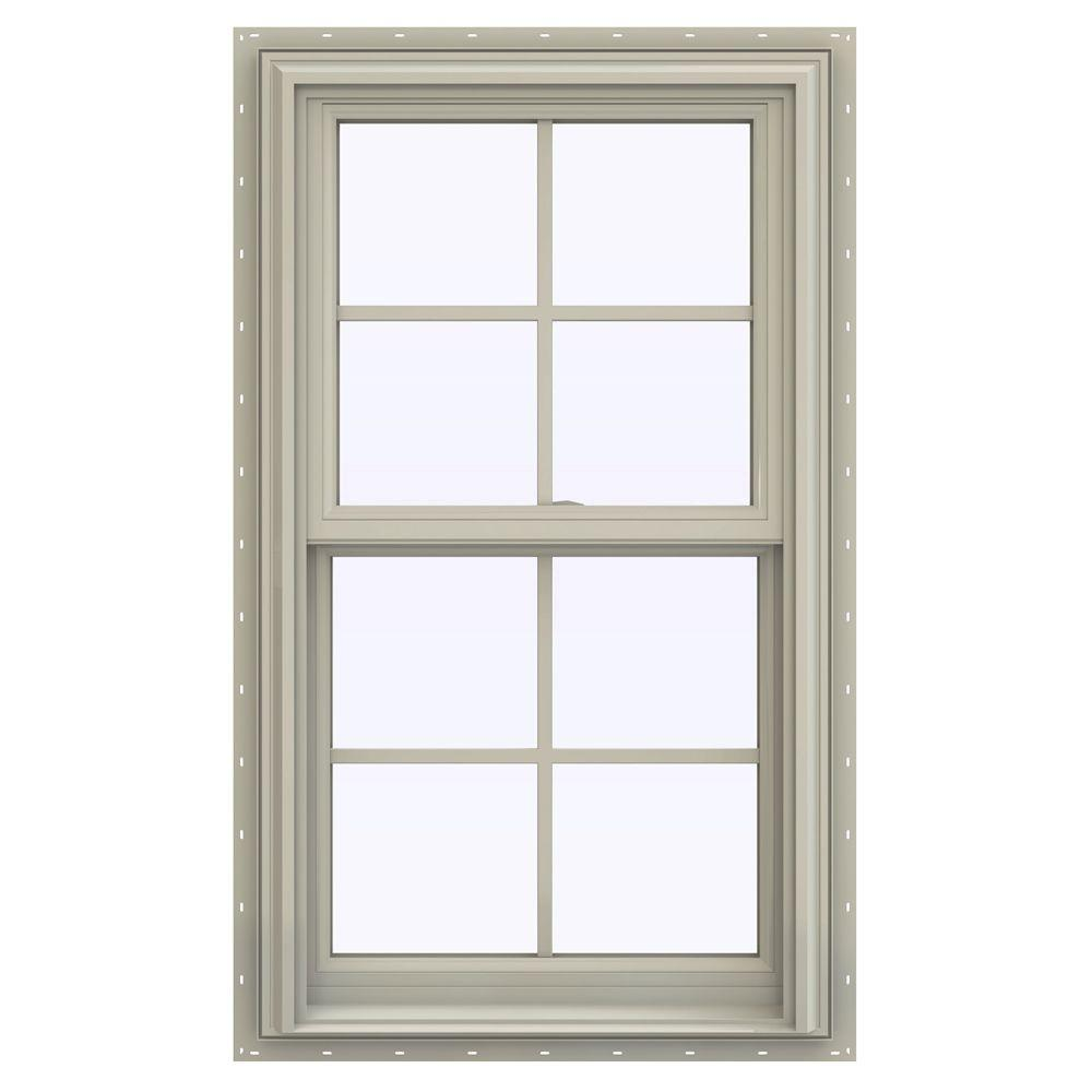 JELD-WEN 23.5 in. x 47.5 in. V-2500 Series Double Hung Vinyl Window with Grids - Tan