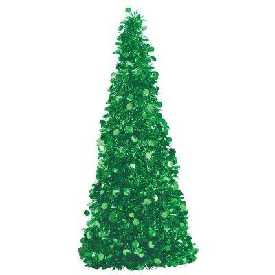 18 in. Green Tinsel Tree Centerpiece (2-Pack)