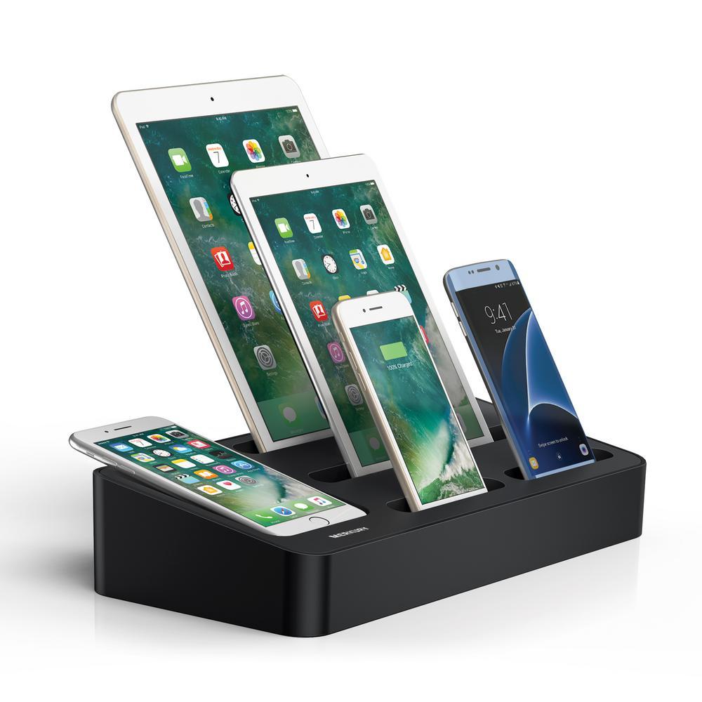 5-Port Compact Multiple USB Charger & Phone Docking Station, Black