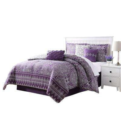 Harris Plum and White Dasmask Queen 7-Piece Reversible Comforter Set