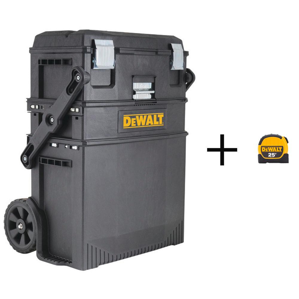 DEWALT 16 in. 4-in-1 Cantilever Tool Box Mobile Work Center w/ Removable Tray w/ Bonus 25 ft. x 1-1/8 in. Tape Measure