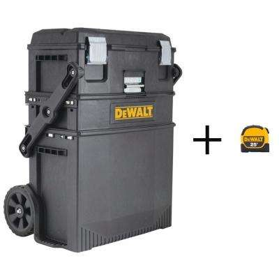 16 in. 4-in-1 Cantilever Tool Box Mobile Work Center with Removable Tray with Bonus 25 ft. x 1-1/8 in. Tape Measure