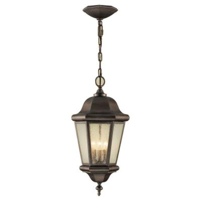 Martinsville 10.25 in. W. 3-Light Bronze Outdoor Corinthian Pendant with Clear Seeded Glass Panels