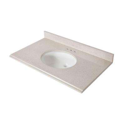 37 in. x 22 in. Colorpoint Vanity Top in Maui with White Basin