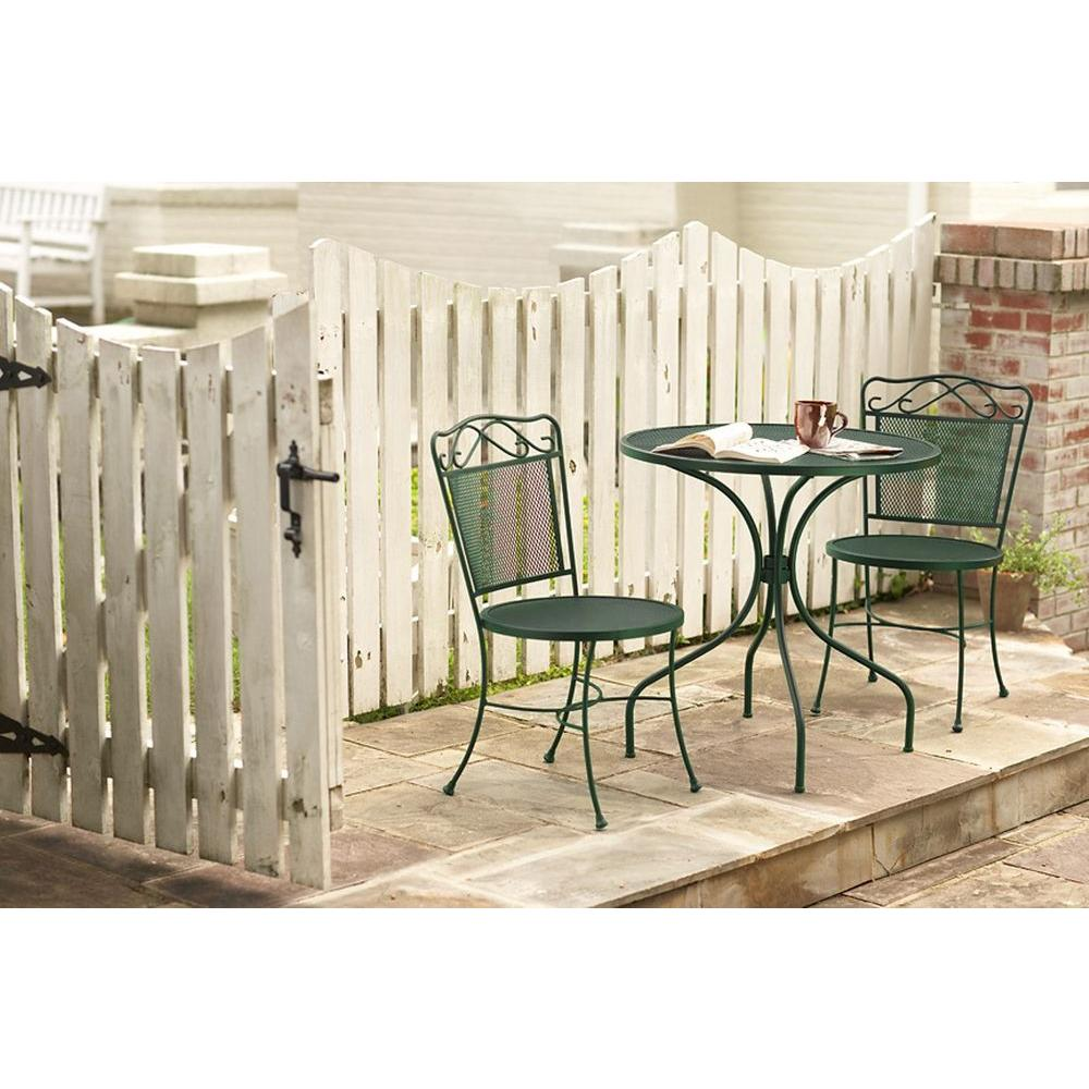 null Wrought Iron Green 3-Piece Patio Bistro Set