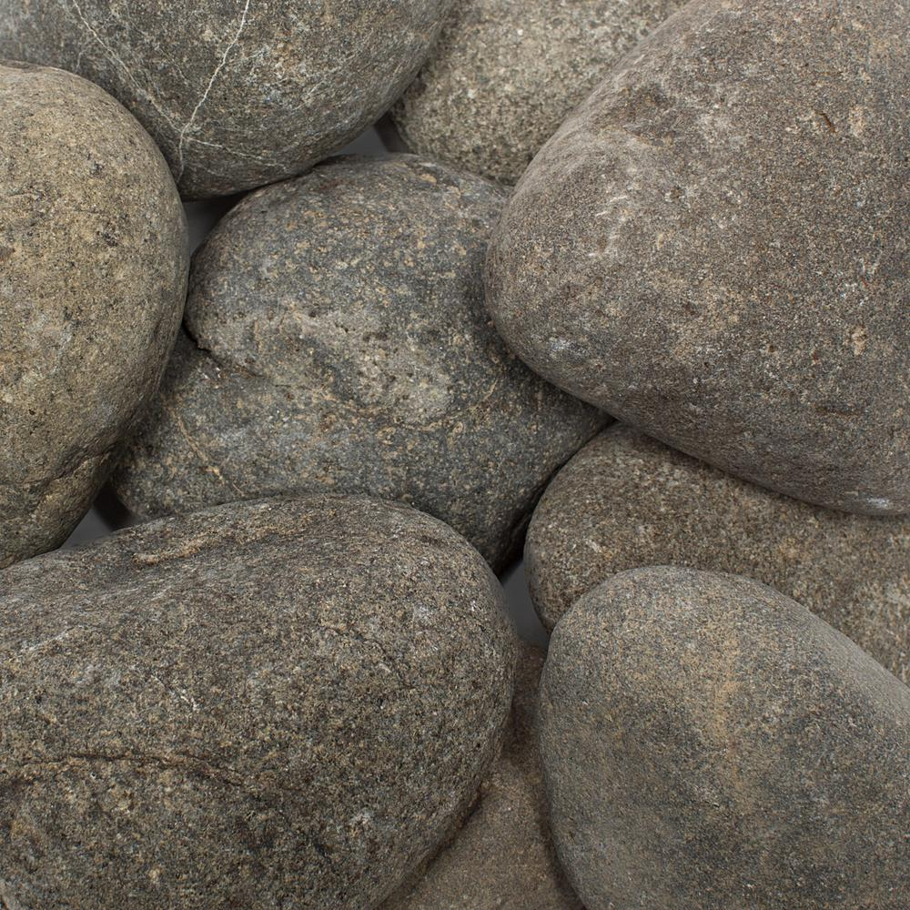 1 in. to 3 in., 30 lb. Grey Caribbean River Pebbles