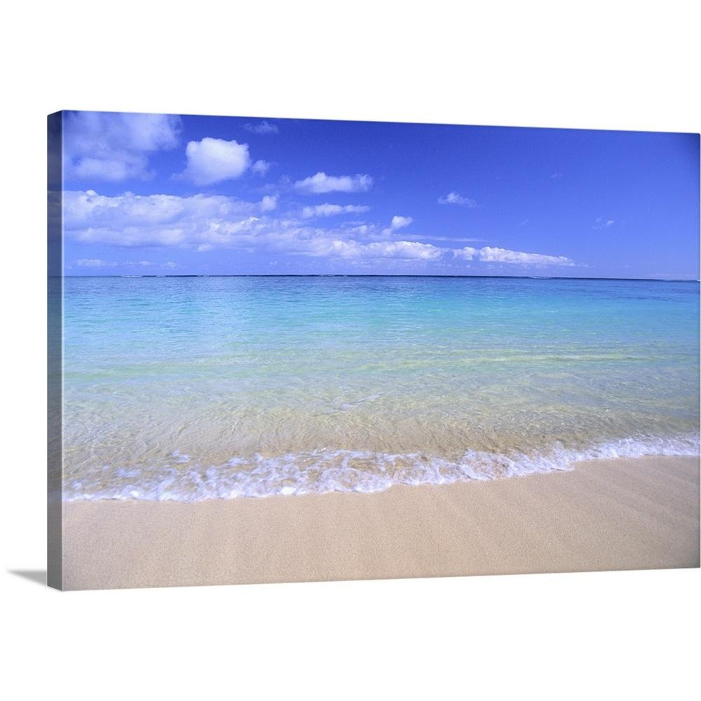 Greatbigcanvas Clear Shoreline Ocean Water Turquoise Horizon Blue Sky With Clouds By Bill Brennan Canvas Wall Art 1405769 24 36x24 The Home Depot