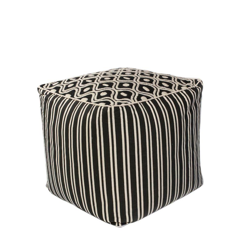 Kas Rugs High Status Black and White Accent Pouf-POUF19SQ - The ...