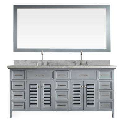 Kensington 73 in. Bath Vanity in Grey with Marble Vanity Top in Carrara White with White Basins and Mirror