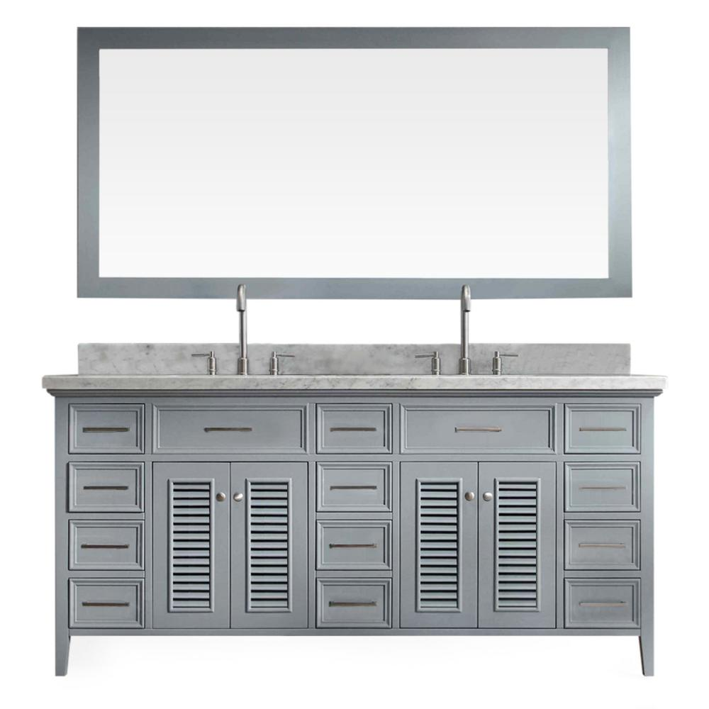 Vanity In Grey With Marble Vanity Top In Carrara White With White Basins  And Mirror D073D GRY   The Home Depot