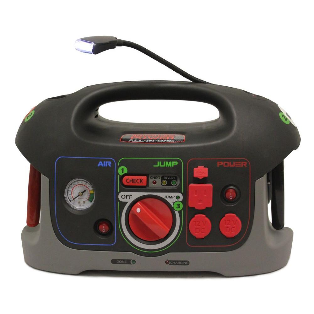 12-Volt All-In-One Battery Jump Start System with Built-In Air Compressor and