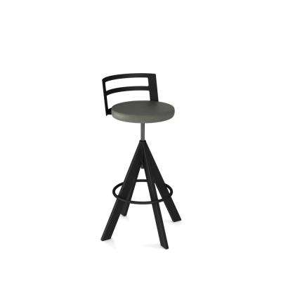 Swirl Black Metal Grey Polyurethane Adjustable Stool