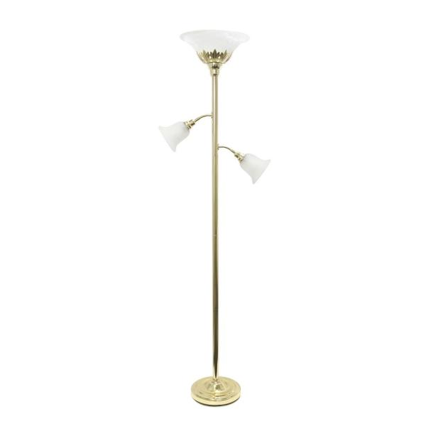 71 in. 3-Light Gold Floor Lamp with Scalloped Glass Shades