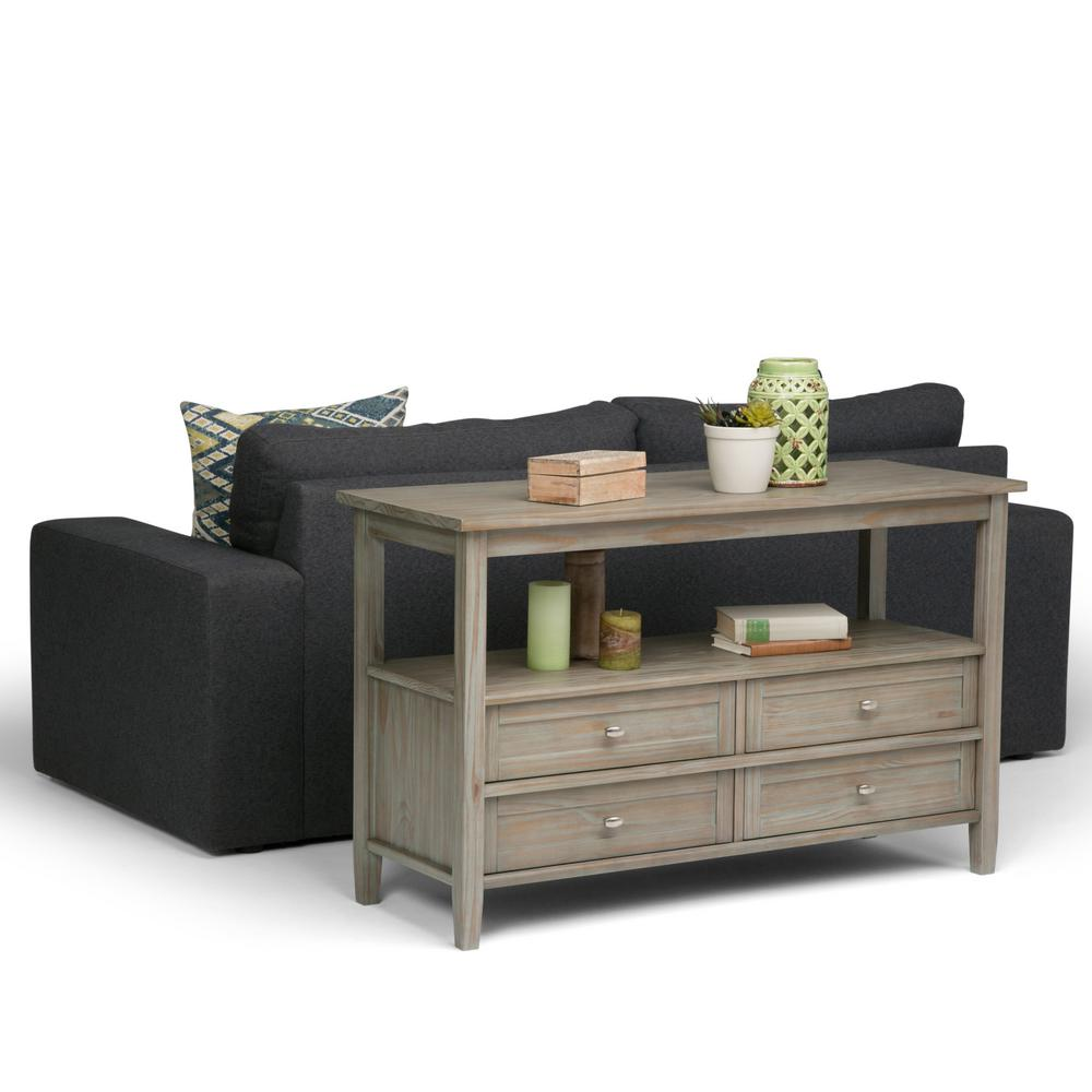 Simpli Home Warm Shaker Distressed Grey Storage Console Table