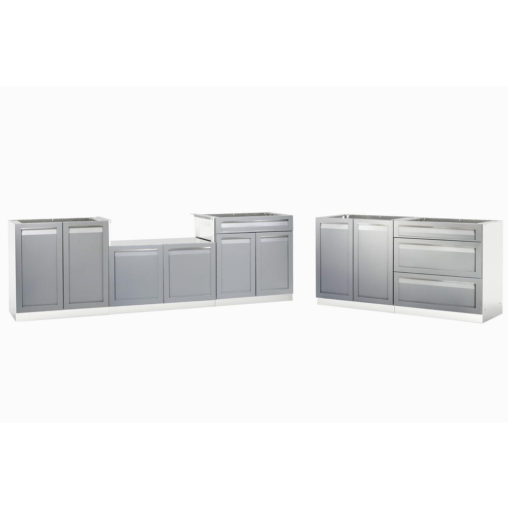 Merveilleux Stainless Steel 5 Piece 168 In. W X 36 In. H X24 In. D Outdoor Kitchen BBQ  Cabinet Set With Powder Coated Doors In Gray