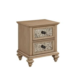 Internet 300390075 Home Styles Visions 2 Drawer Silver Gold Champagne Nightstand
