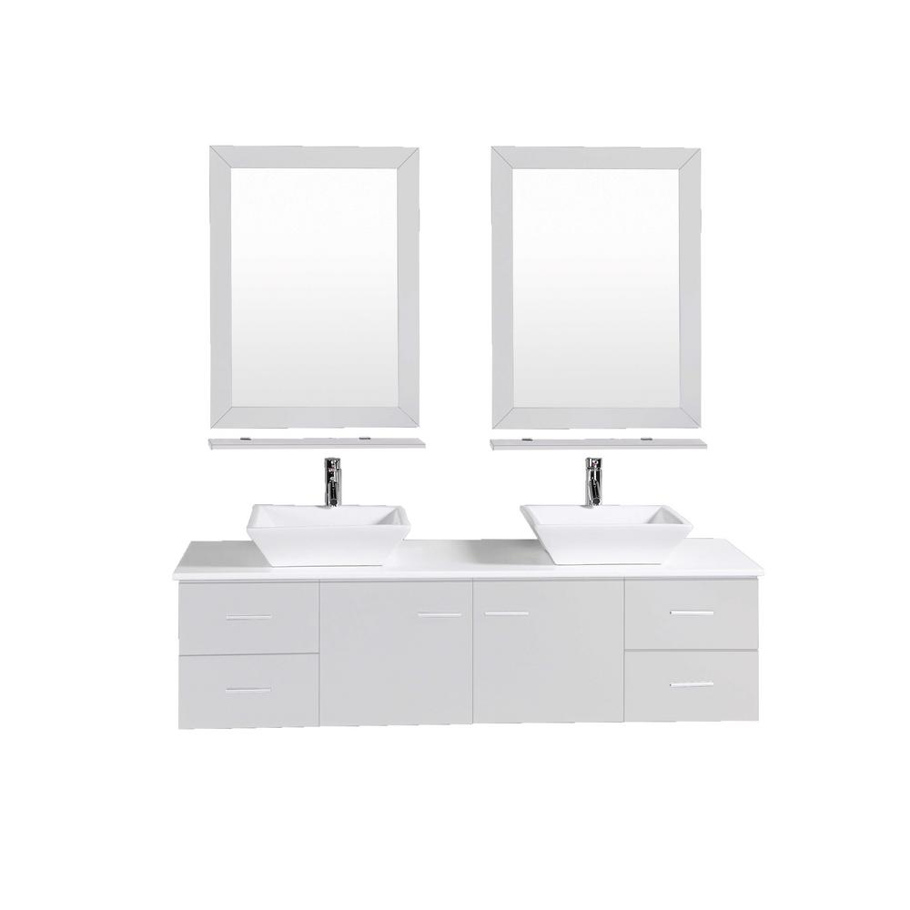 Eviva Totti Wave 72 in. W x 16 in. D x 22 in. H Vanity in Gray with Glassos Vanity Top in White with White Double Basin