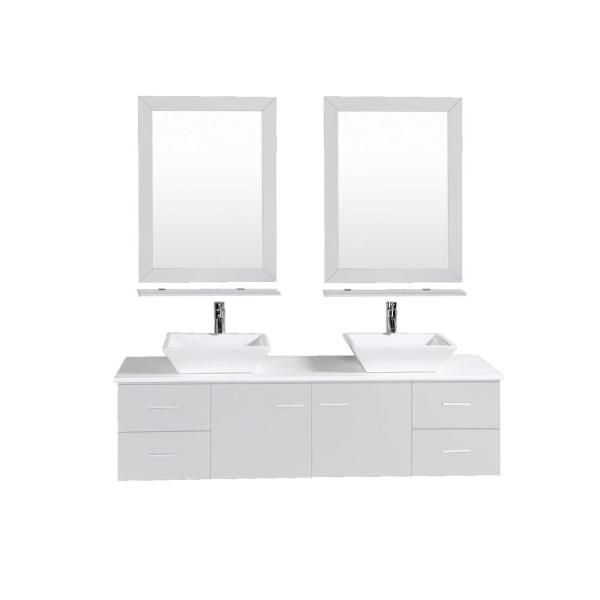 Totti Wave 72 in. W x 16 in. D x 22 in. H Vanity in Gray with Glassos Vanity Top in White with White Double Basin