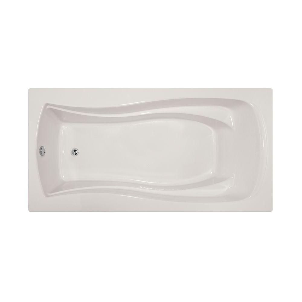 Charlotte 72 in. Acrylic Rectangular Drop-in Non-Whirlpool Bathtub in White