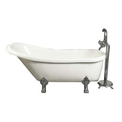 5.5 ft. Acrylic Claw Foot Slipper Tub in White with Floor-Mount Faucet
