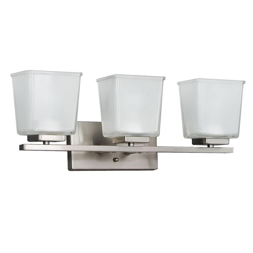 hamptonbay Hampton Bay 3-Light Brushed Nickel Vanity Wall Fixture