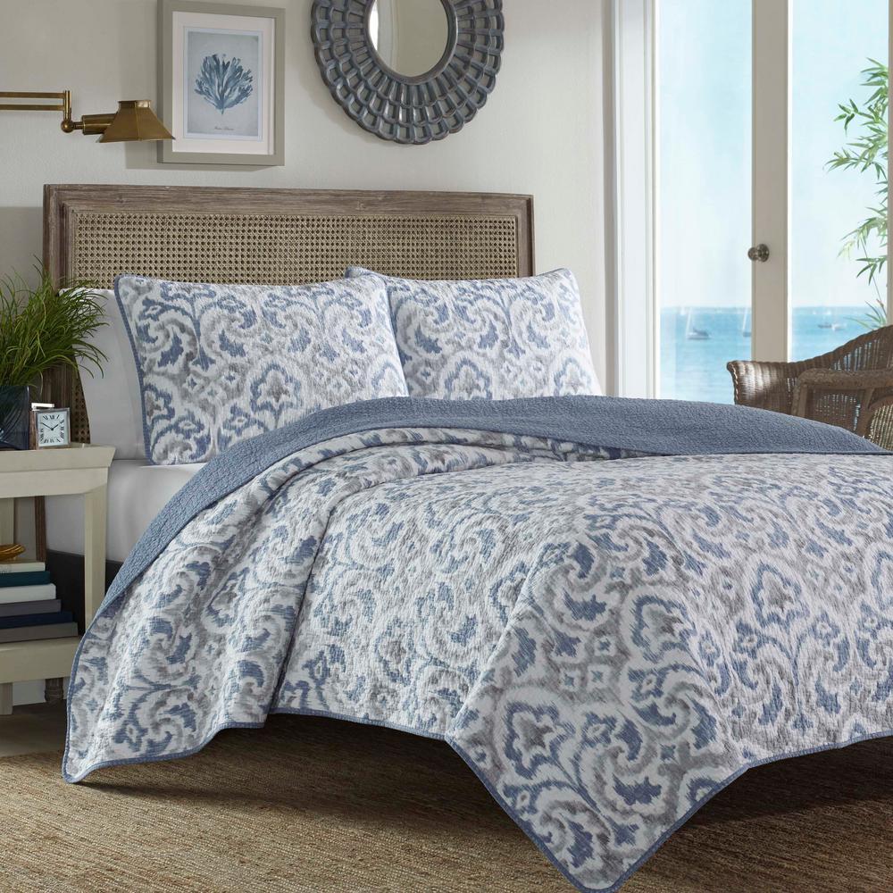 Cape Verde Smoke 3-Piece Blue Cotton Full/Queen Quilt Set