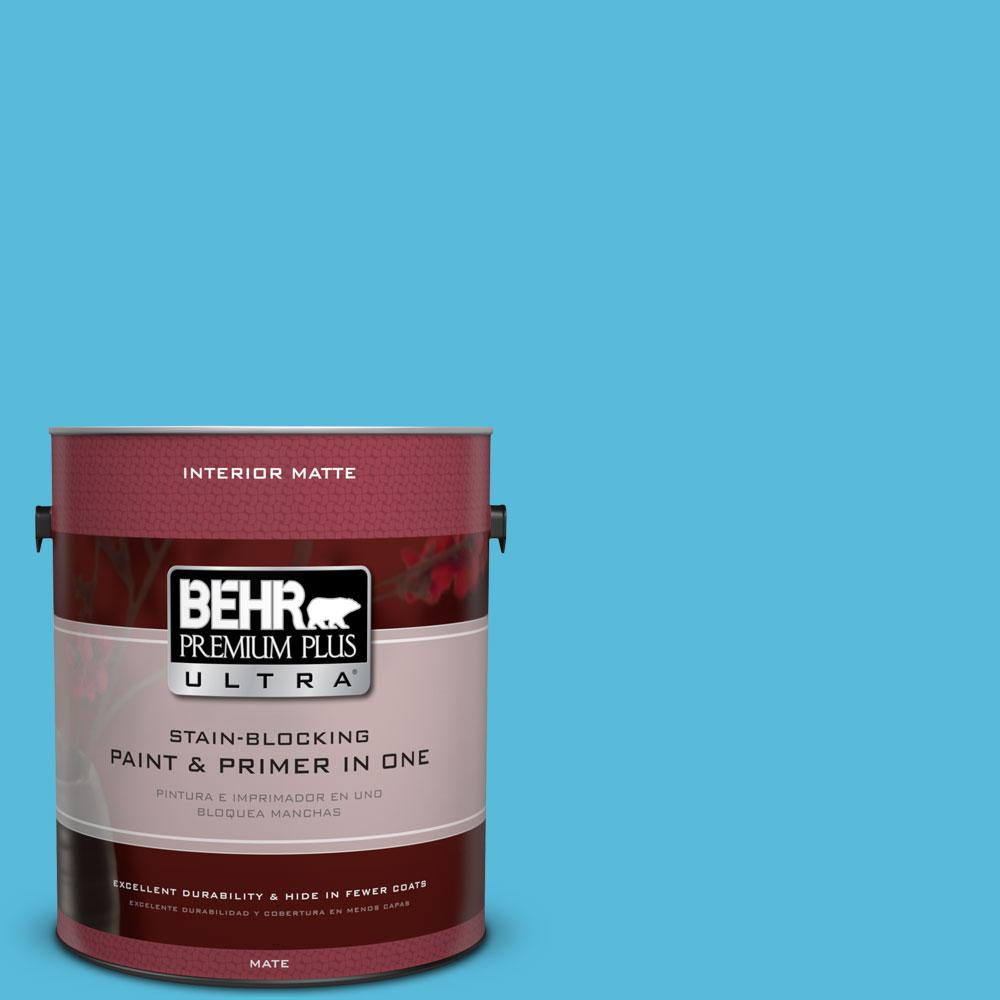 BEHR Premium Plus Ultra 1 gal. #530B-5 Azurean Flat/Matte Interior Paint