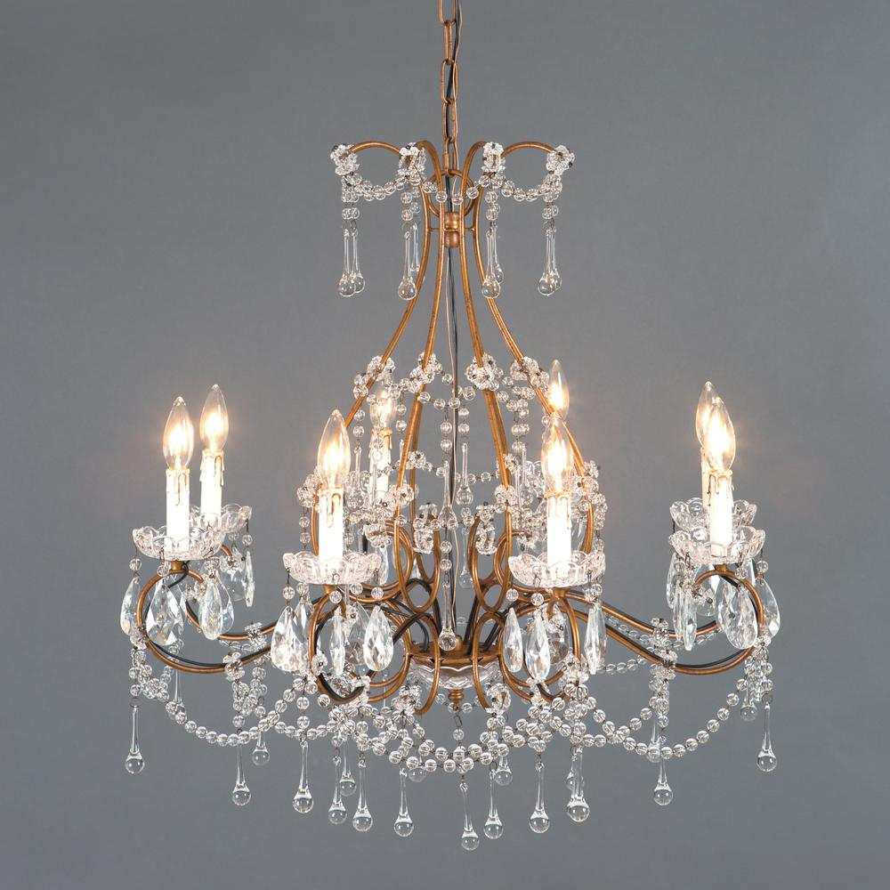 Attrayant Yosemite Home Decor Kearney Collection 8 Light Antique Gold Chandelier