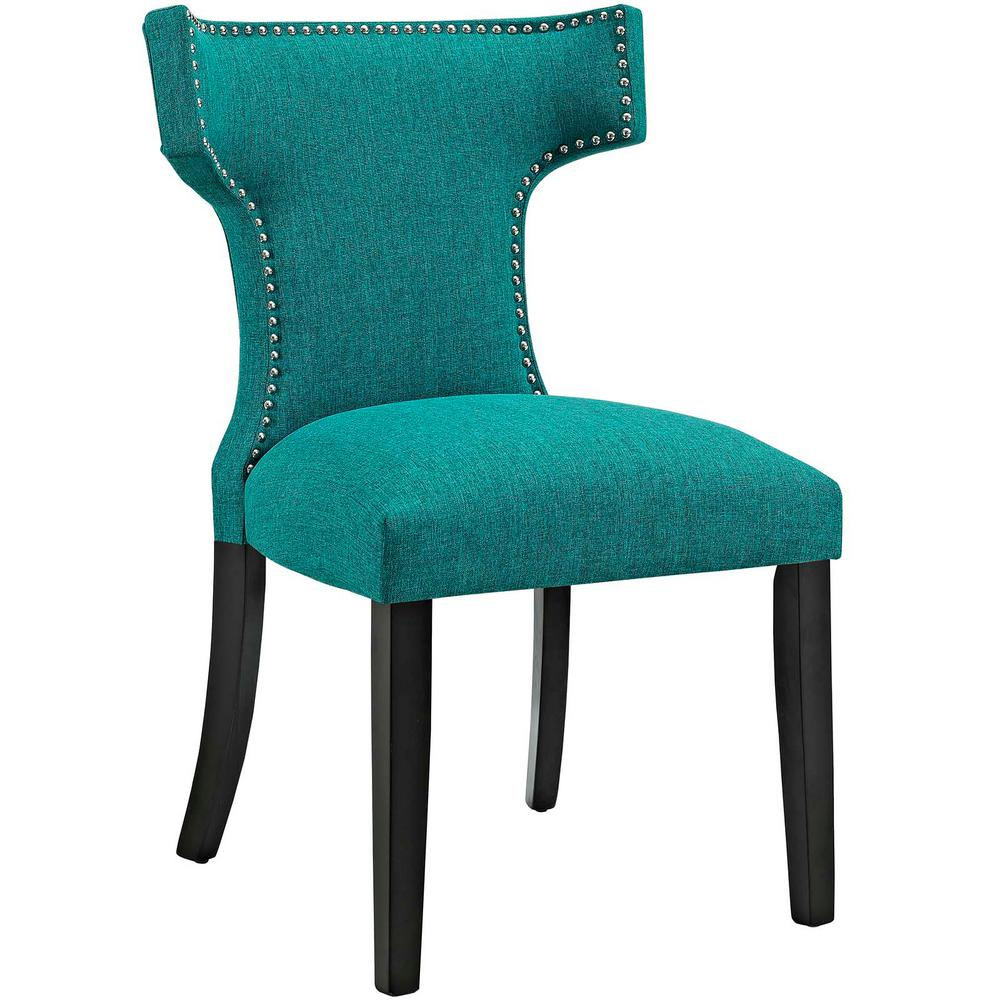teal dining chairs modway curve teal fabric dining chair eei 2221 tea the 11531