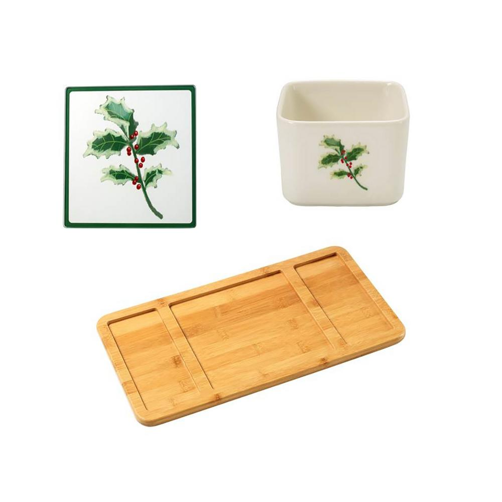 Precious Moments Bamboo Cheese Board, Christmas Glass Cutting Board and Square Porcelain Christmas Appetizer Bowl, Multi Food tastes better when its served with style, Weve made it easy to add elegance to your holiday parties by pairing an eco-friendly bamboo serving tray, a practical and pretty dip bowl as well as a matching glass cutting board designed to be used on its own or with our cleverly designed holiday serving sets. This group of items would make a beautiful wedding gift and a unique hostess gift, or a gift just because. The dip bowl is crafted in porcelain. Dishwasher and microwave safe. Approximately 2.25 in. high. Holds approximately 7 oz. The serving tray is crafted of bamboo. Spot clean only. Approximately 15.5 x 8.25 in. The tray insert/cutting board is crafted of glass. Hand wash only. Approximately 7 in. x 7 in. Color: Multi.